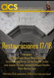 Conferencia sobre las restauraciones de la Parroquia de la Magdalena en el curso 2017/18