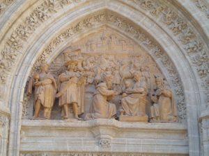 La adoración de los Reyes Magos, en la Puerta de Palos de la Catedral